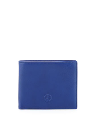 Vitello GA Logo Hip-Fold Wallet, Blue