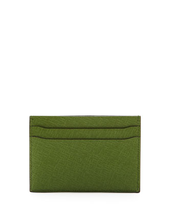 Saffiano Leather Card Case, Green