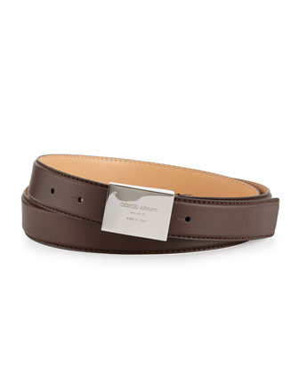 Plaque-Buckle Leather Belt, Brown