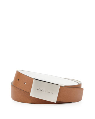 Reversible Belt with Logo Plaque, White/Tan