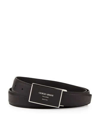 Black Logo Plaque Belt, Black