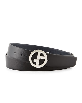Reversible Saffiano Logo Belt, Black/Blue