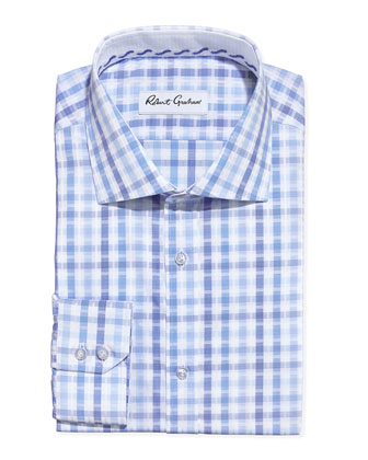 Ethan Multi-Plaid Dress Shirt, Blue