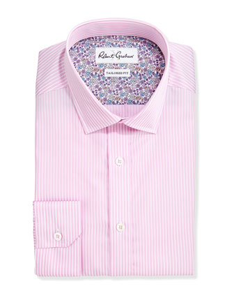 Tailored Fit Striped Dress Shirt, Berry