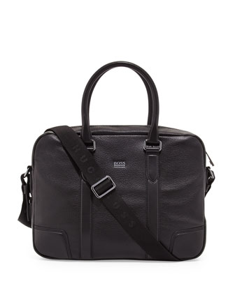 Morval Leather Briefcase, Black