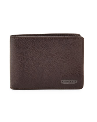 Logo Clip Leather Wallet, Brown