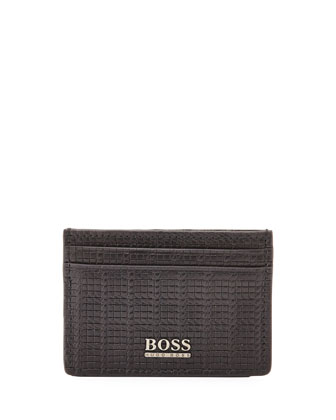 Woven Leather Card Case, Black