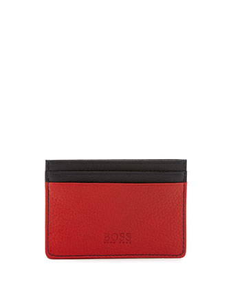 Colorblock Leather Card Case, Navy/Red