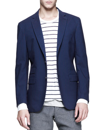 Striped Three-Button Elbow-Patch Blazer, Striped Long-Sleeve Tee & Hopsack ...