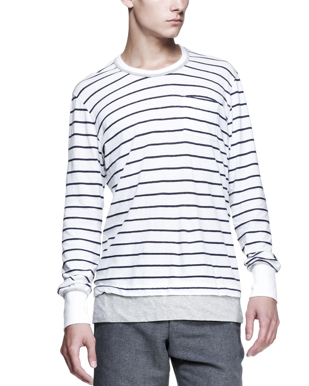 Mens Striped Long Sleeve Tee, Navy/White   Michael Bastian   Navy white (X