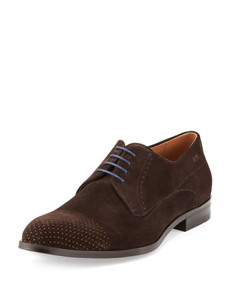 Geneonio Perforated Suede Lace-Up Shoe, Brown
