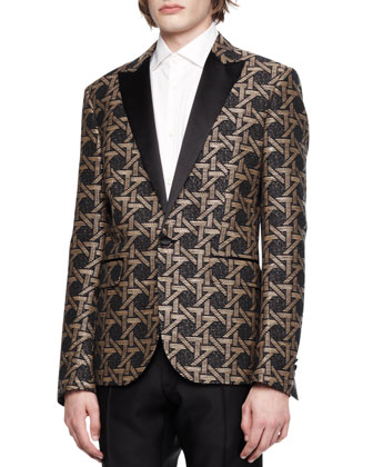 Tribal Print Jacket, Black/Beige