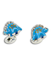Dinosaur Cuff Links, Blue/Orange Dot