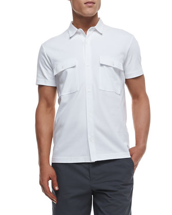 Janos Short-Sleeve Shirt in Census, White