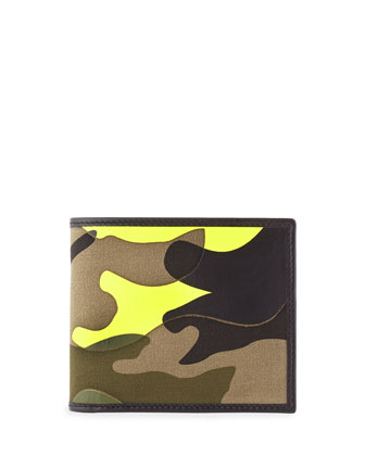 Camo-Print Bi-Fold Wallet, Yellow