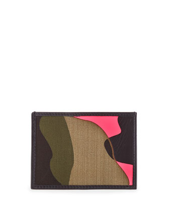 Camo-Print Canvas/Leather Card Case, Pink