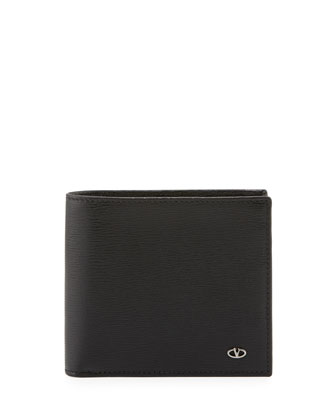 Stamped V-Logo Bi-Fold Wallet, Black