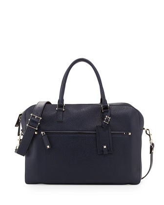 Rockstud Pebbled Leather Briefcase, Navy