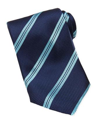 Rope-Stripe Grenadine Tie, Blue/Aqua