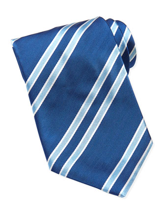 Striped Herringbone Silk Tie, Blue