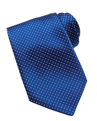 Woven Floral-Neat Pattern Tie, Blue