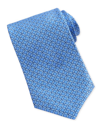 Square-Print Silk Tie, Blue