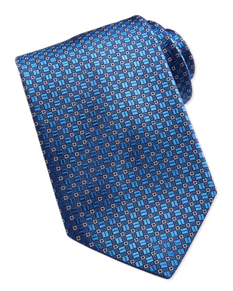 Mini-Square Pattern Silk Tie, Blue
