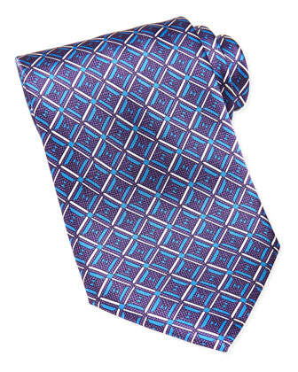 Geometric-Diamond-Print Silk Tie, Purple