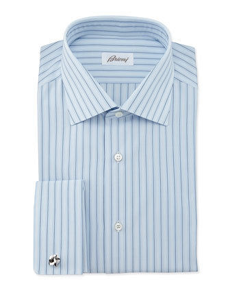 Striped French-Cuff Dress Shirt, Blue