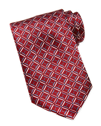 Geometric-Diamond-Print Silk Tie, Red