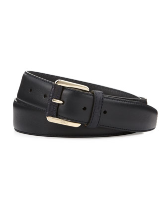 Leather Belt with Crocodile Trim, Dark Navy