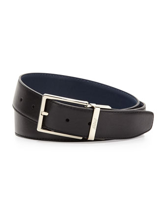 Reversible Leather Belt, Navy-Black