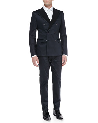 Light Cotton Suit, Navy/Black