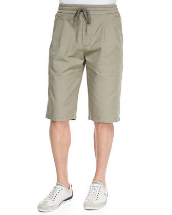 Five-Pocket Drawstring Walking Shorts, Medium Beige