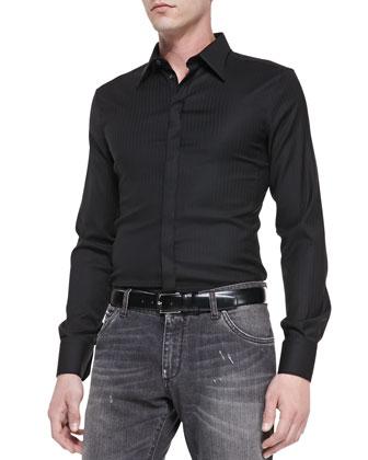 Shadow-Pinstripe Slim-Fit Shirt, Black