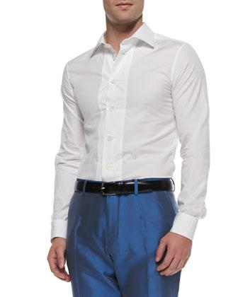 Long-Sleeve Big-Button Shirt, White