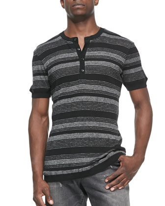 Striped-Knit Short-Sleeve Henley Tee