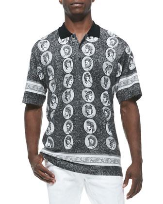 Short-Sleeve Coin-Print Polo Shirt