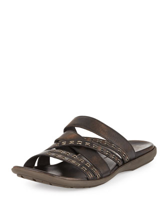 Tobago Stitched Slide Sandal, Brown