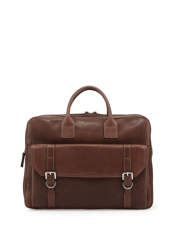 Mens Double Zip Leather Briefcase, Brown   Brunello Cucinelli   Brown