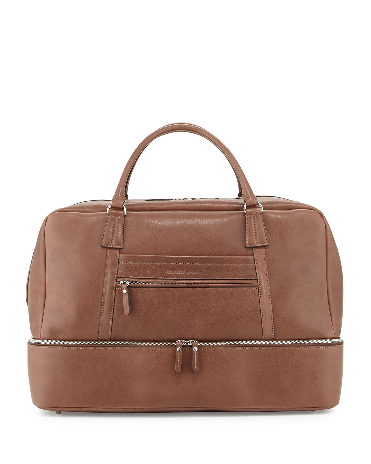 Mens Leather Bottom Compartment Duffle Bag, Brown   Brunello Cucinelli   Brown