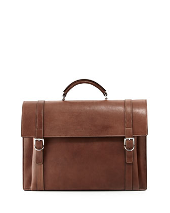 Aged Leather Flap Briefcase, Brown