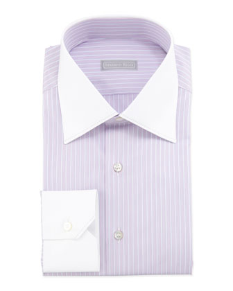 Multi-Striped Contrast-Collar Dress Shirt