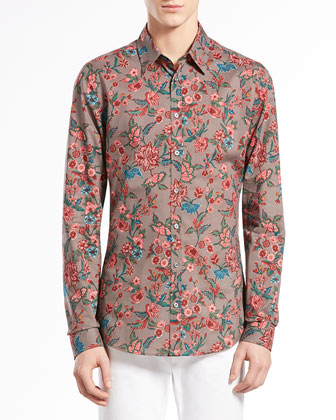 Multi Floral-Print Long-Sleeve Shirt & Skinny Denim Pants