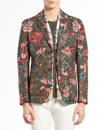 Floral-Print Jacquard Jacket, Multi