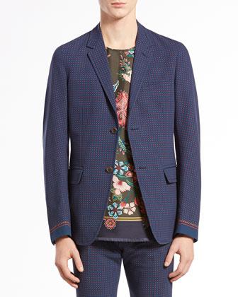 Dot-Print Crepe Two-Button Jacket, Blue