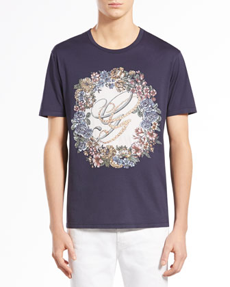 English-Wreath Print Tee, Navy