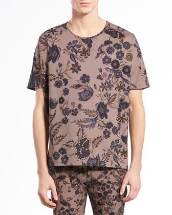 Floral-Print Silk-Twill Tee, Gray/Navy