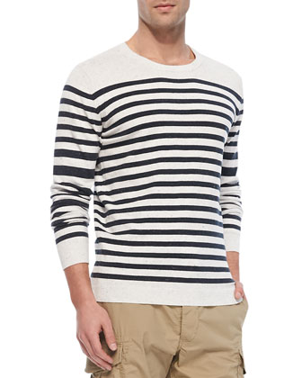 Striped Pullover Sweater, White