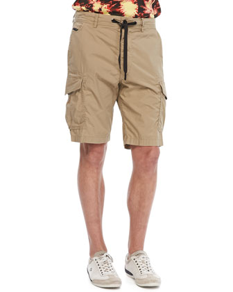 Overdyed Poplin Cargo Shorts, Tan